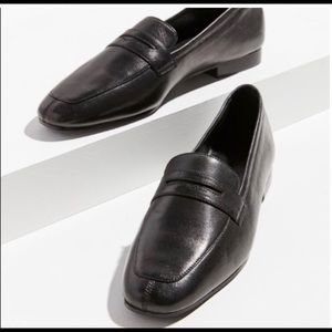 UO leather black loafers